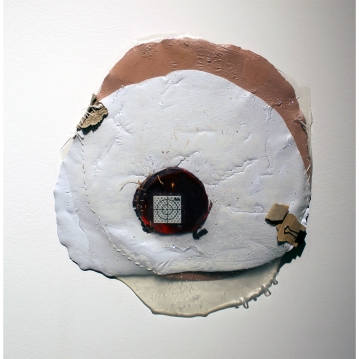 Paint-made view: 3 Dimension: 16''x 15'', Medium: Acrylic Paint, Tar Gel, Scrap Papers, Latex Enamel Paint, Found Object, Thread, Clip Year: 2014