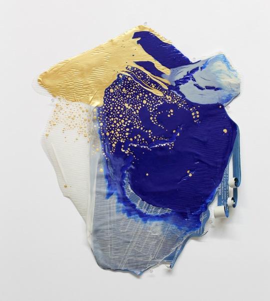 29''x23'', poured latex enamel paint, blueprint map, corrugated plastic sheet