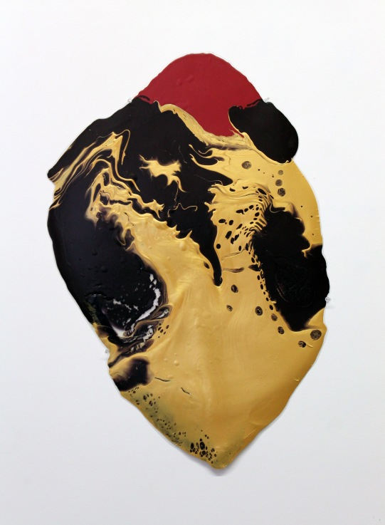 36''x24'', poured latex enamel paint, clear tar gel, plastic sheet