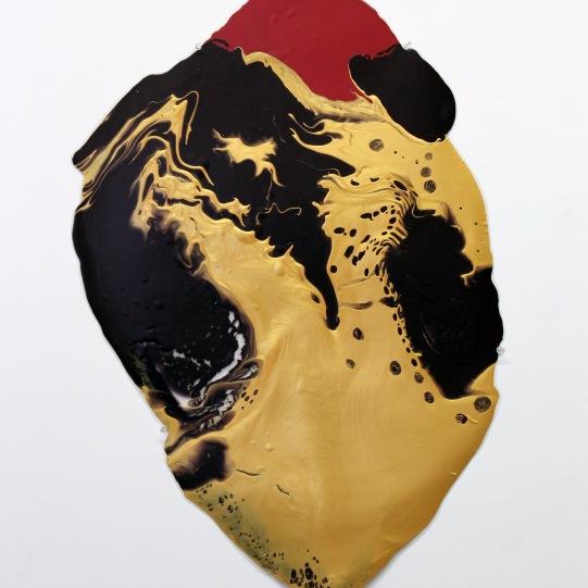 36''x24'', poured latex enamel paint, clear tar gel, plastic sheet