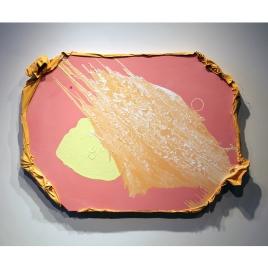 "Medium: Oil, Acrylic, Rubber band, Thread on Canvas Dimensions: 56"" x 40"" x 2.25"""