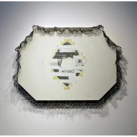 "Medium: Oil, Acrylic, Asphalt Tar, Lace, Kevlar Thread on Canvas Dimensions: 60"" x 44"" x 2.25"""