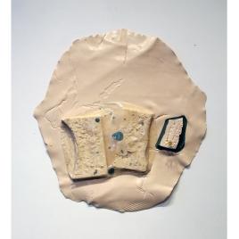 "Medium: Latex Enamel Paint, Tar Gel, Polystyrene Foam, Pins Dimensions: 28"" x 27"" x 3"""