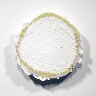 Medium: Latex Enamel Paint, Acrylic Paint, Gesso, and Pins on Polystyrene Foam Board Dimension: 16'' x 15.5'' x 2'' Year: 2015