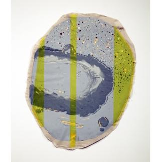 Medium: Latex Enamel Paint, Cellophane, and Plastic on Linen Dimension: 36'' x 28'' Year: 2016
